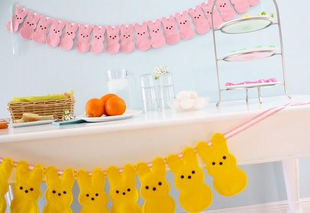 savvyhousekeeping decorate baby shower easter peeps bunny bunting
