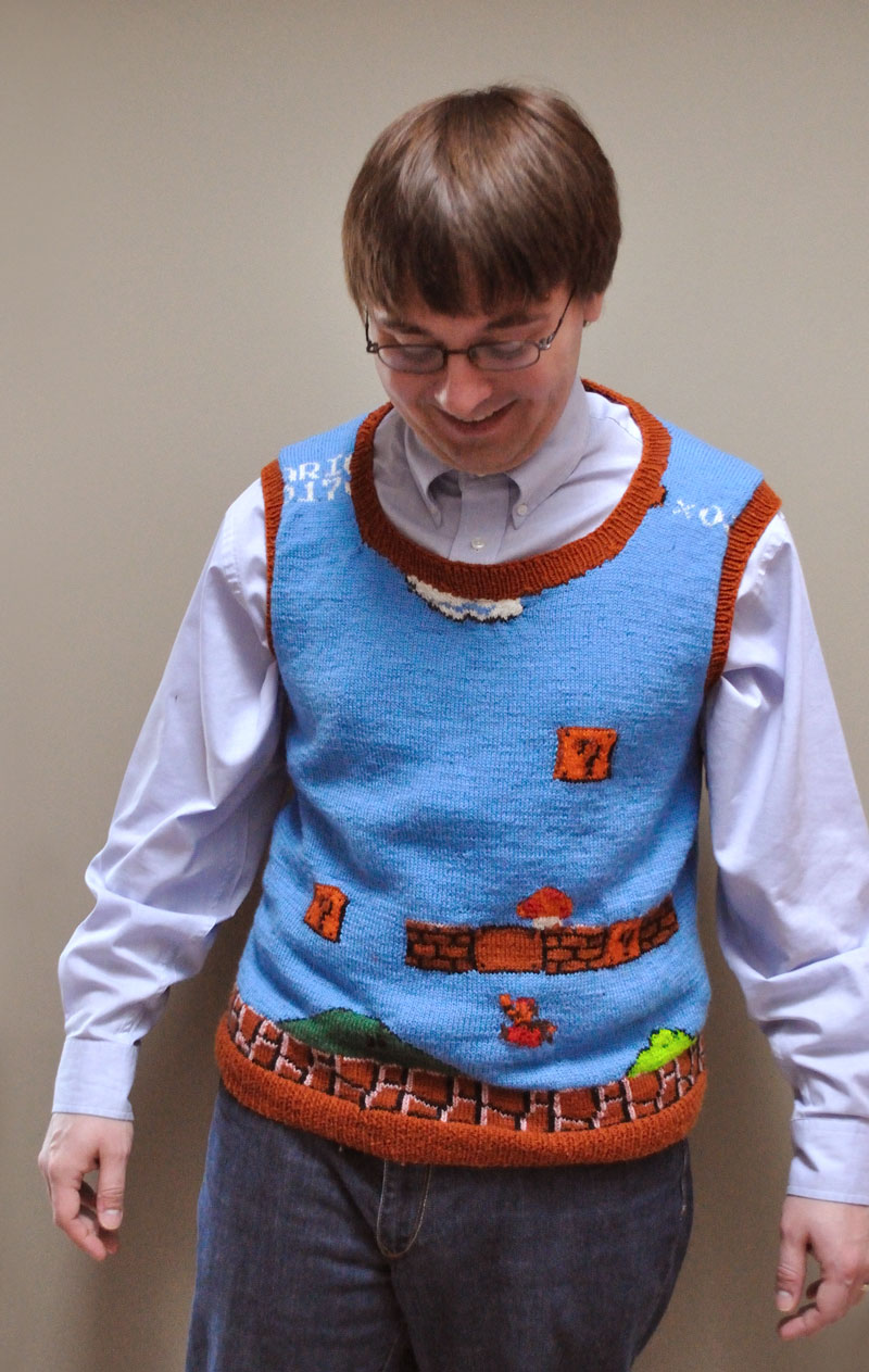 savvyhousekeeping geek mario brothers sweater knit