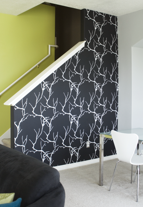 savvyhousekeeping diy hand-painted wall expensive graphic wallpaper