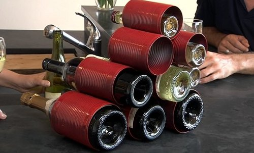 savvyhousekeeping 5 things to do with a tin can wine rack