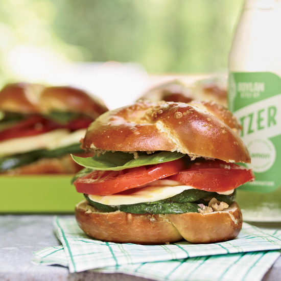 Grilled thin sliced zucchini sandwich w/tomatoes, mozzarella & olivada. Moreton's House 712 Greenwood, Chapel Hill, NC 27514-5923. W: 919 967 2185 C: 919 260 7465 www.nealsdeli.com A100527_F&W_NealsDeli_Sept_2010